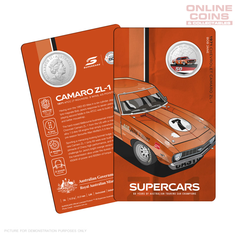 60 Years of the Australian Touring Car Champions 1960/2020 2020 50c Colour Uncirculated - CHEVROLET CAMARO ZL-1