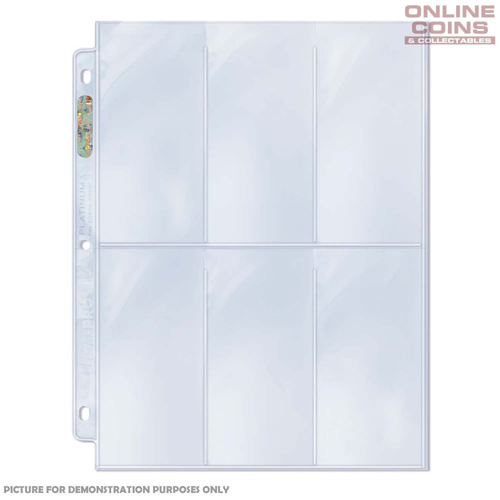 "ULTRA PRO 6 POCKET PLATINUM SERIES PAGES with 2-1/2"" X 5-1/4"" Pockets x 10"