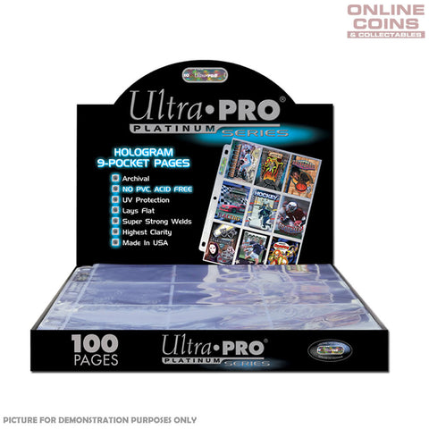 ULTRA PRO 9-POCKET HOLOGRAM PLATINUM SERIES PAGES - Full Box of 100