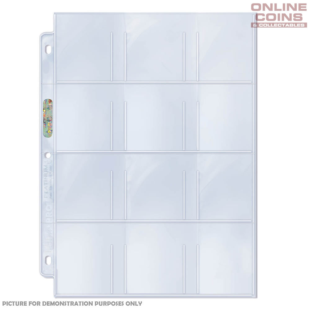 Ultra-Pro Platinum 3-hole 12-Pocket Pages for Stickers Cards and Tags x 10