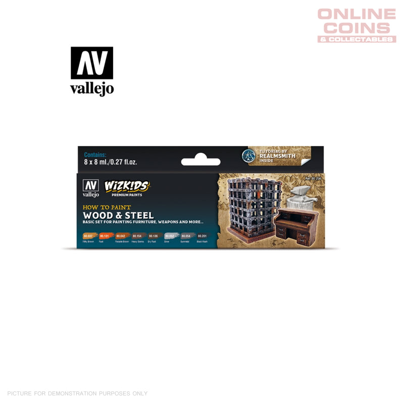Vallejo Wizkids Premium Paint Set: Wood & Steel