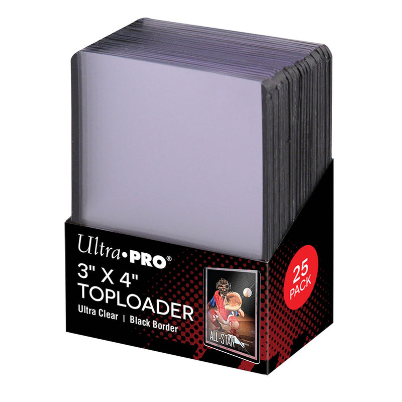 "Ultra-Pro 3"" x 4"" Toploader Card Protectors with Black Border - 25 per pack"
