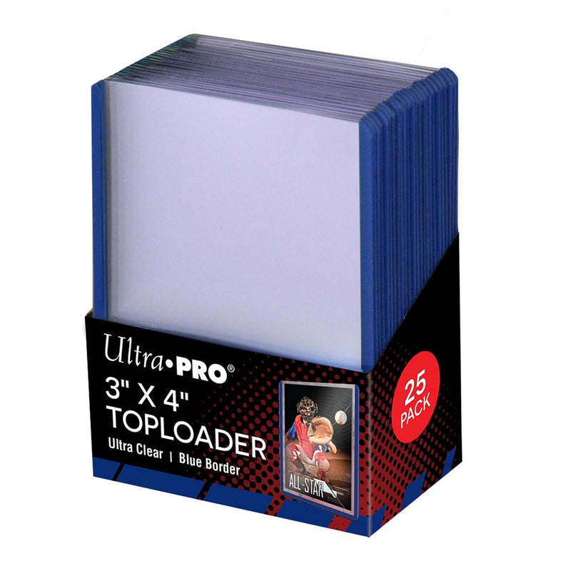 "Ultra-Pro 3"" x 4"" Toploader Card Protectors with Blue Border - 25 per pack"