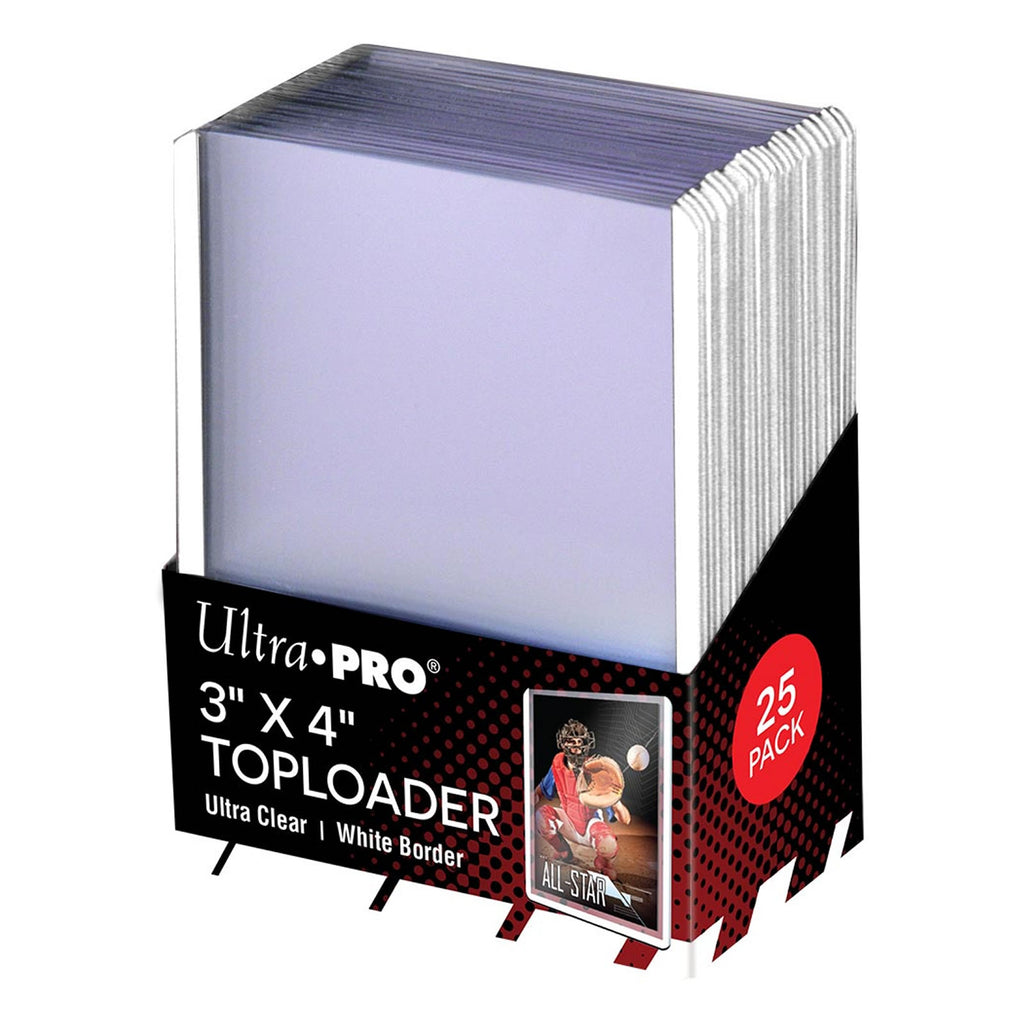"Ultra-Pro 3"" x 4"" Toploader Card Protectors with White Border - 25 per pack"