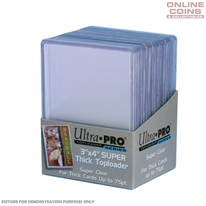"Ultra Pro 3"" x 4"" 75pt Super Thick Toploader Card Protectors - Packet of 25"
