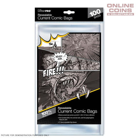 Ultra Pro RESEALABLE Acid Free Ultra Clear Current Size Comic Bags x Pack 100