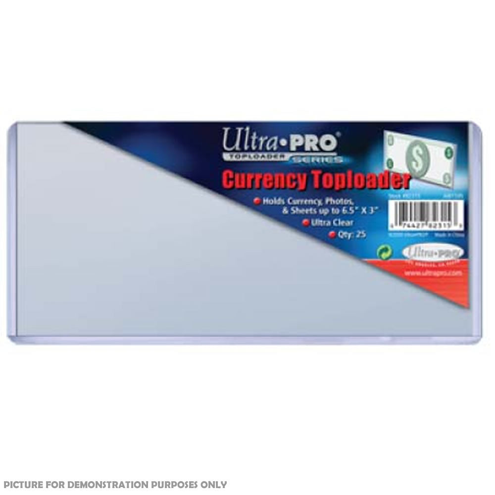 "Ultra-Pro 3"" x 6.5"" (165mm x 76mm) Currency Toploaders 25 Pack - Ultra Clear"