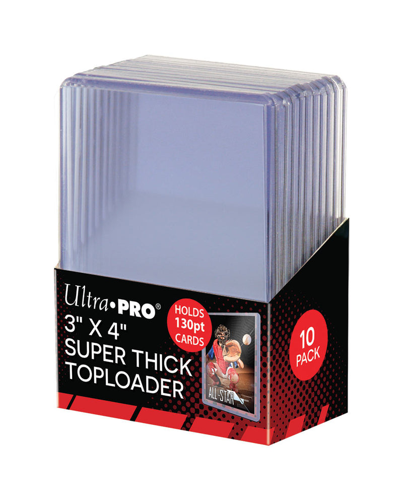 "Ultra Pro 3"" x 4"" 130pt Super Thick Toploader Card Protectors - Packet of 10"