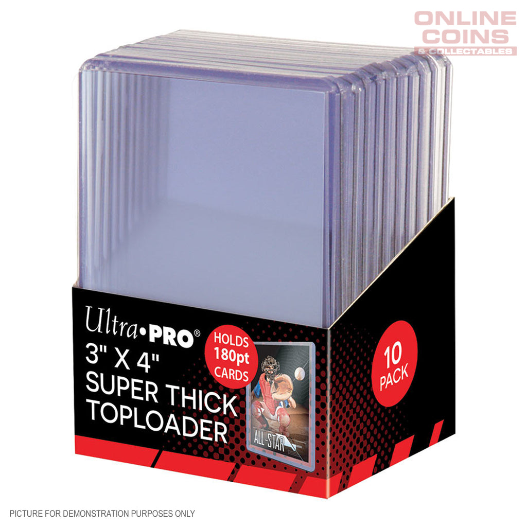 "Ultra Pro 3"" x 4"" 180pt Super Thick Toploader Card Protectors - 10 Pack"