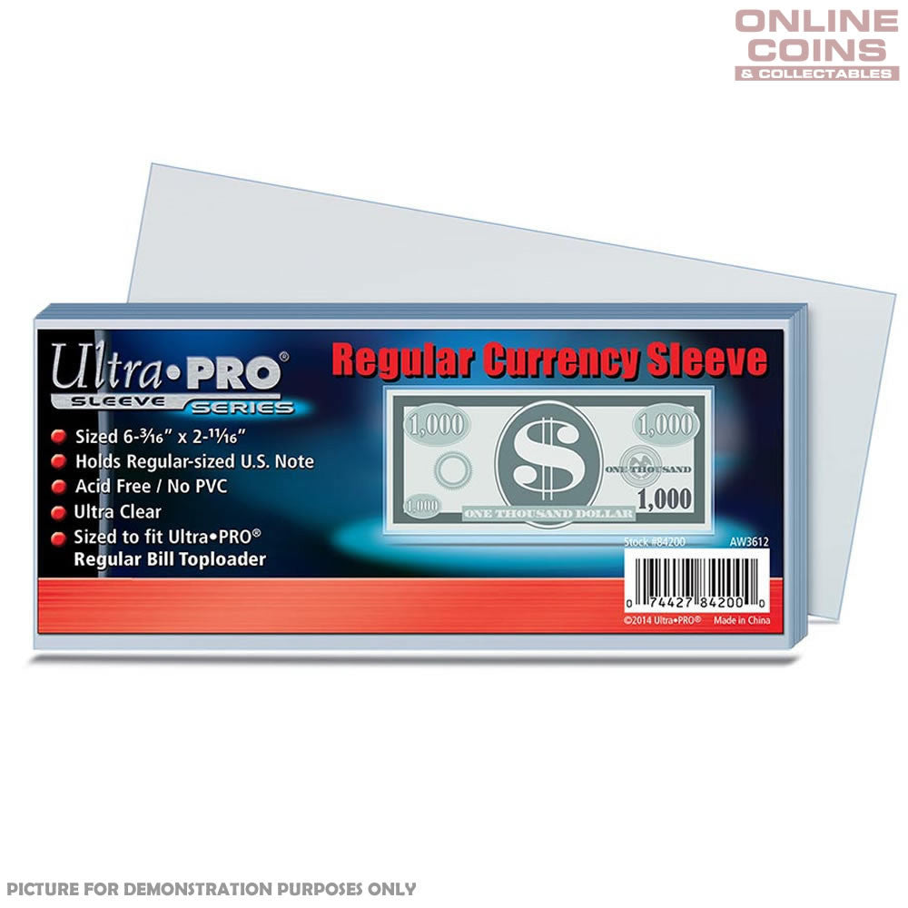 ULTRA PRO - Regular Currency / Bank Note Sleeves 157mm x 68mm - 100 Pack