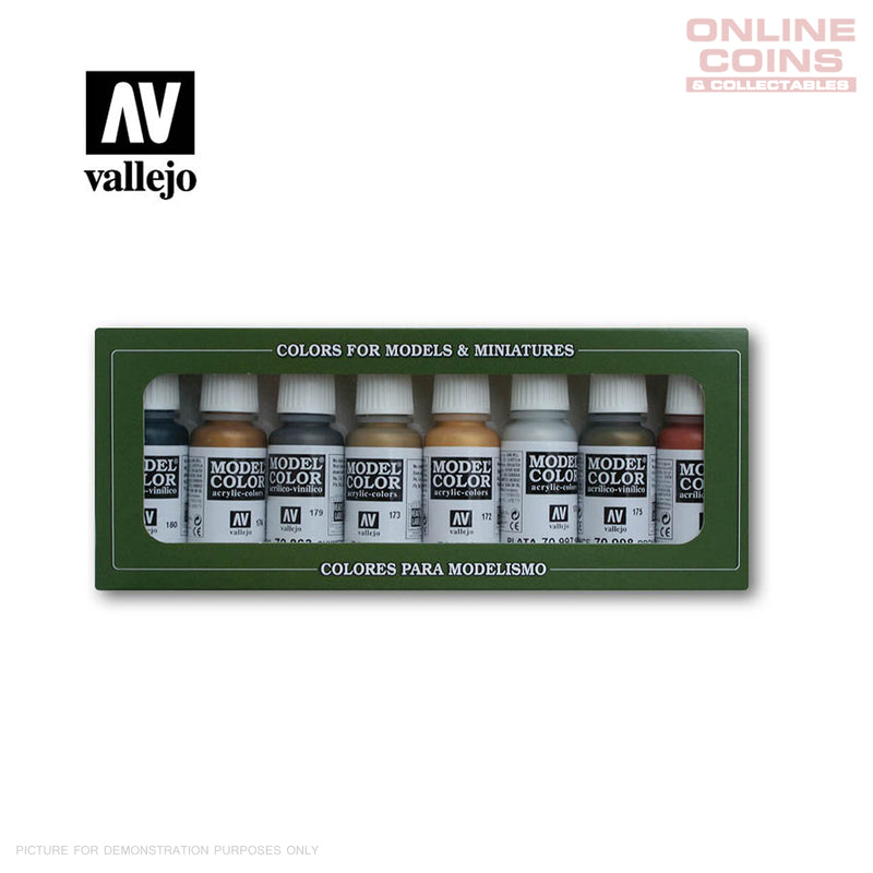 Vallejo Model Color - 70.118 - Metallic Colours 8 Colour Set