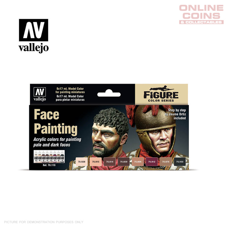 Vallejo Model Colour 70.119 - Miniature Face Painting 8 Paint Set