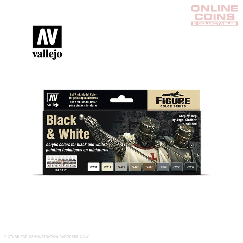 Vallejo Model Colour 70.151 - Black & White 8 Paint Set