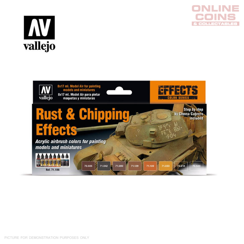Vallejo - Air Colour Rust and Chipping Effects Set of 8 Paints