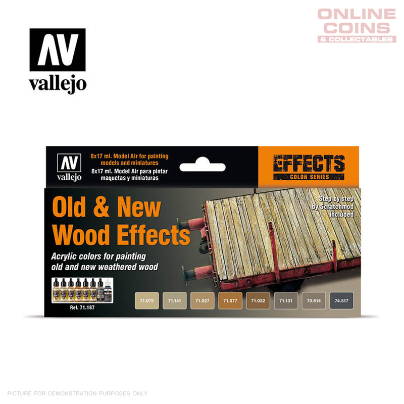 Vallejo Model Air 71.187 - 8 Paint Set Old & New Wood Effects