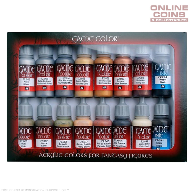Vallejo AV72291 Game Colour Leather & Metal 16 Colour Model Paint Set