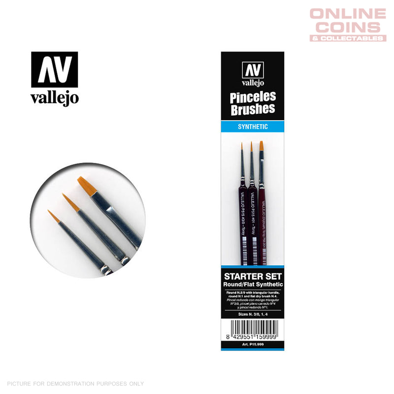 Vallejo Brushes - P15.999 - 3pc Starter Set Synthetic Brushes