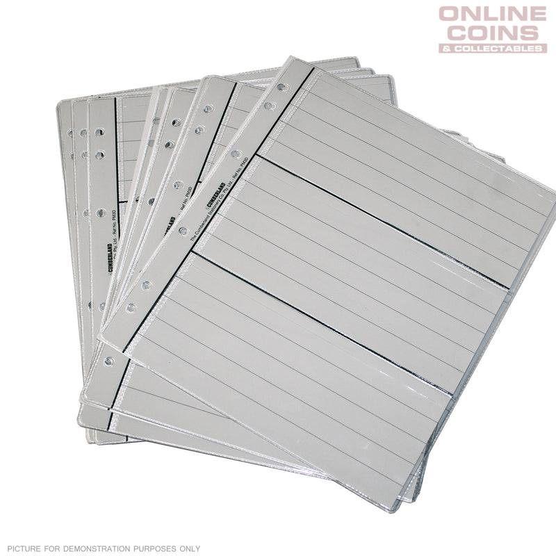 RENNIKS Banknote Pages - 3 Pocket x 10 to Suit Renniks Banknote Album
