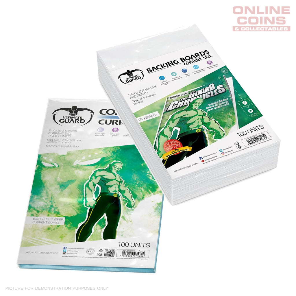 BUNDLE ULTIMATE GUARD Comic Series Resealable CURRENT Size Comic Bags & Backing Boards x 100