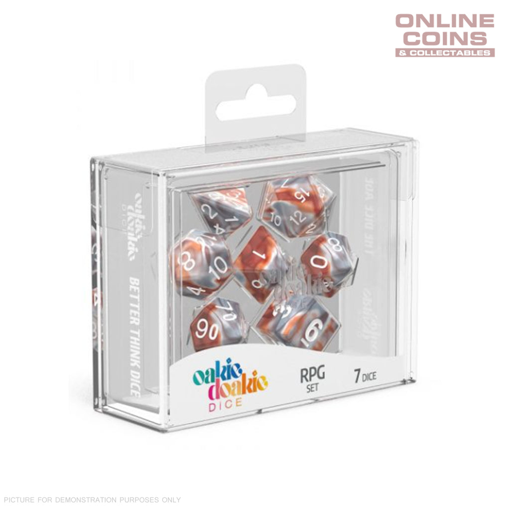 OAKIE DOAKIE DICE - RPG-SET GEMIDICE - Silver Rust Dice
