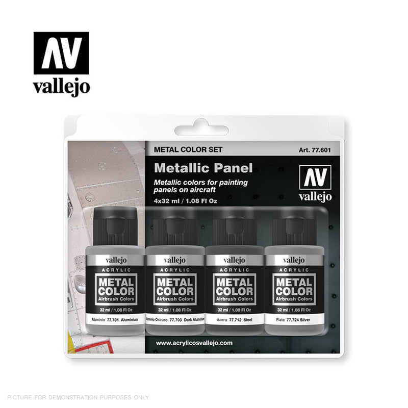 Vallejo Metal Colour METALLIC PANEL 4 Colour Acrylic Paint Set