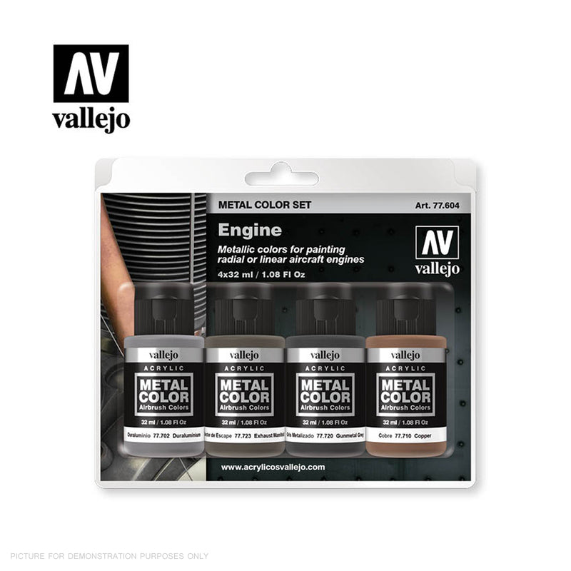 Vallejo Metal Colour Engine 4 Colour Acrylic Paint Set
