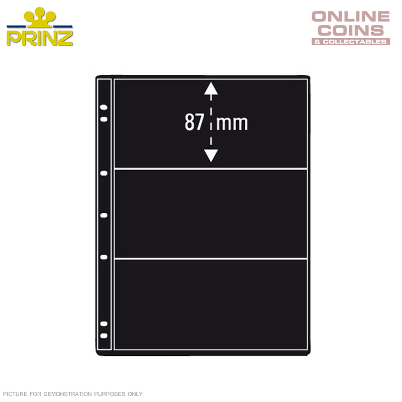 PRINZ ProFil 3 Pocket Black Banknote/ Stamp Album Pages Pack of 5