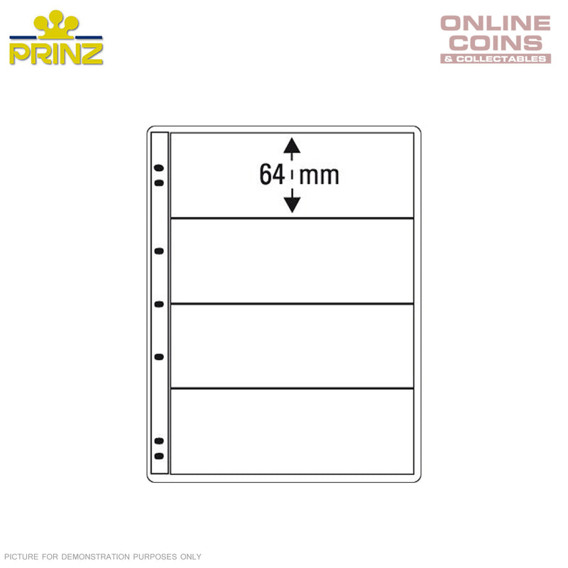 PRINZ ProFil 4 Pocket Clear Banknote / Stamp Album Pages Pack of 5