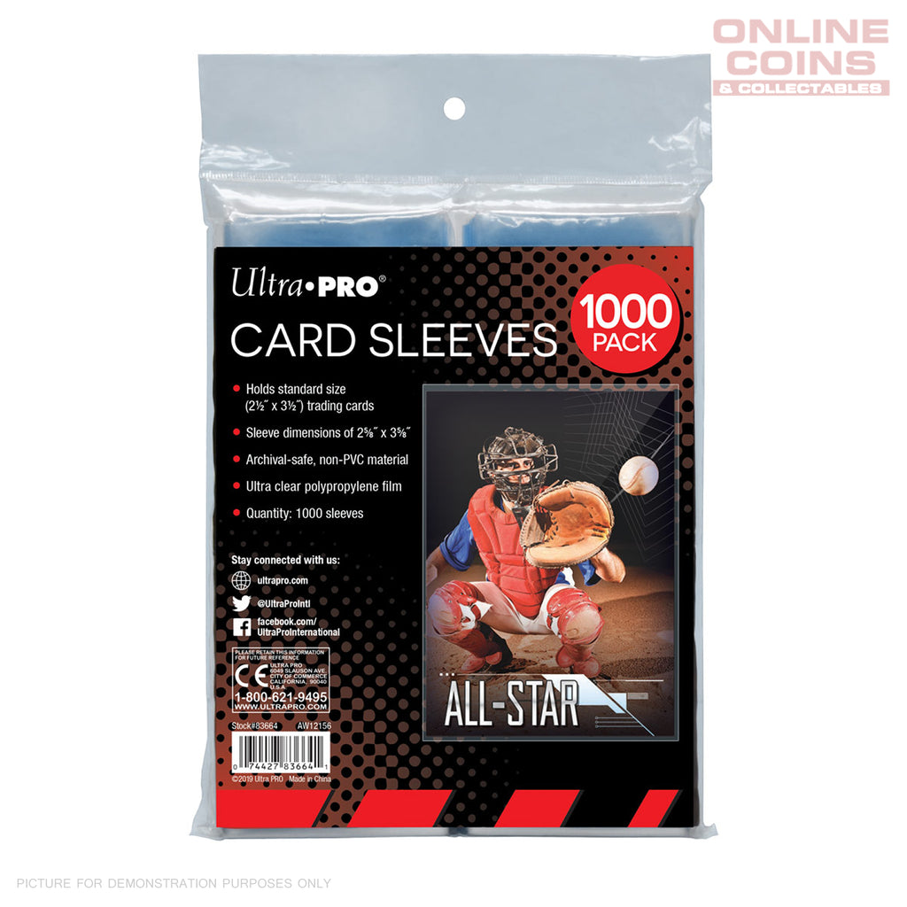 "ULTRA PRO Clear Card Sleeves for Standard Size Trading Cards 2.5"" x 3.5"" x 1000"