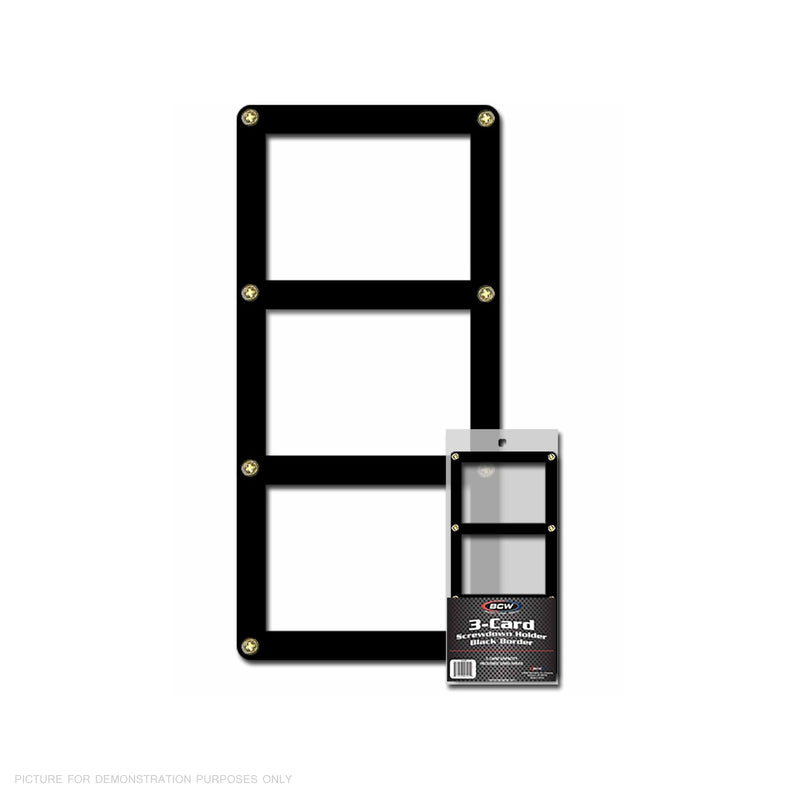 BCW 3 Card - Three Card Screwdown Holder - Black Border - Triple Card Holder