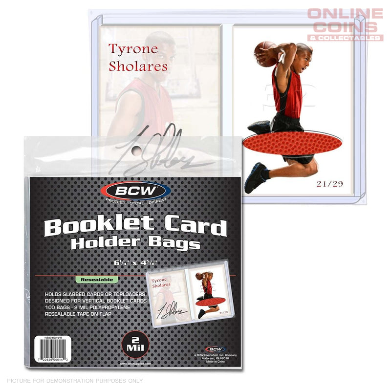 BCW Resealable Bag for Vertical Booklet Card in Holder - 100 Bags per Pack