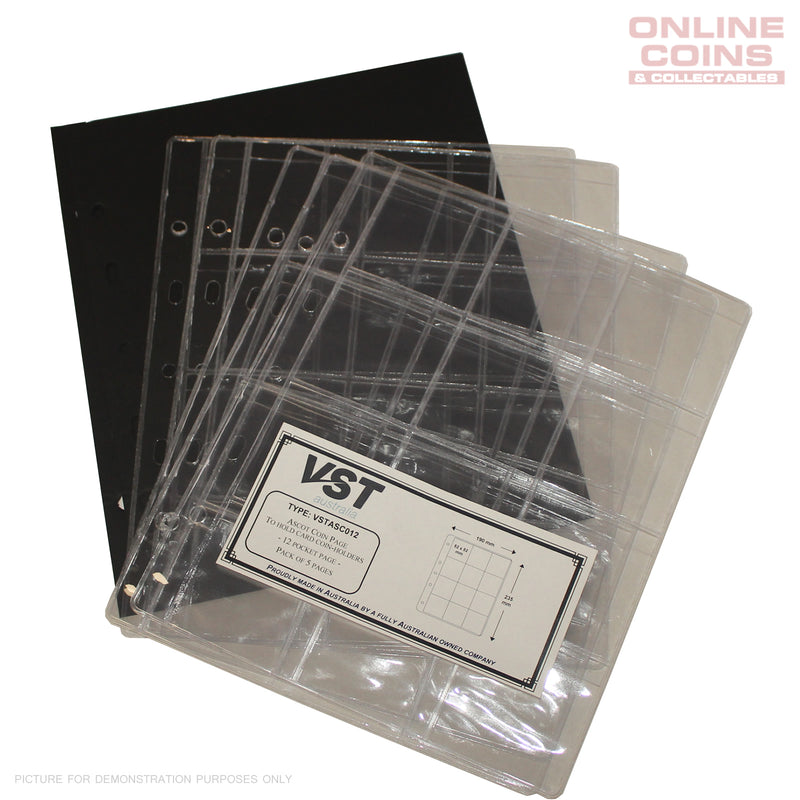 VST ASCOT PAGES Pack of 5 for 2x2 Holders - Suit ASCOT Binder