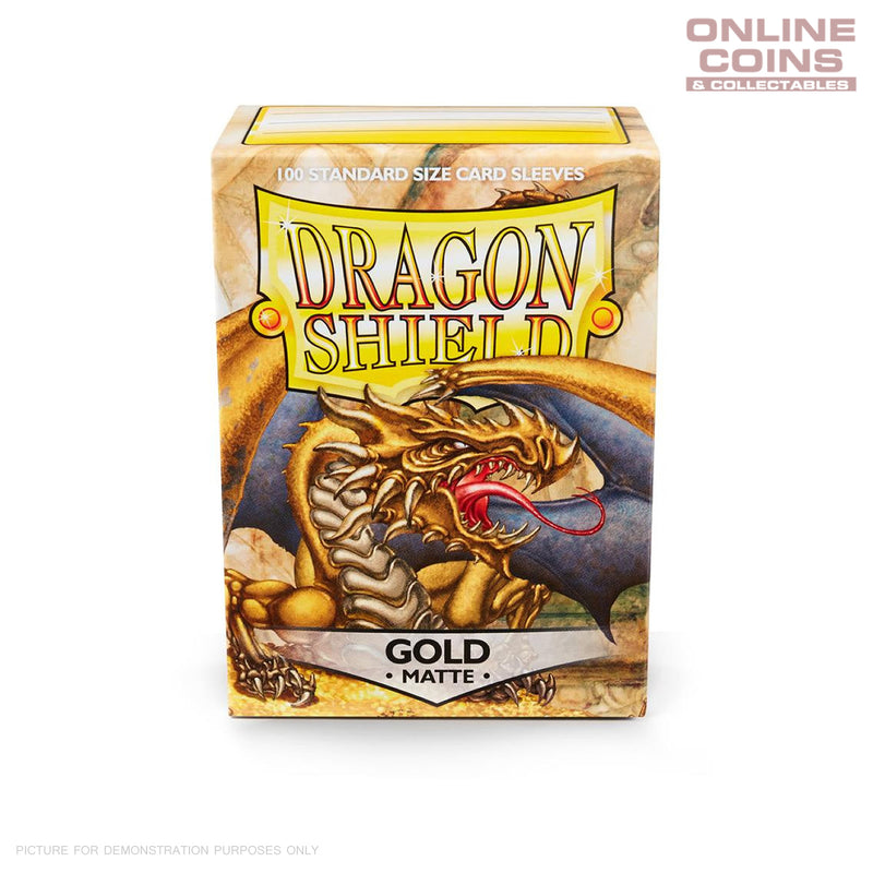 DRAGON SHIELD - MATTE Standard Card Sleeves GOLD Pack of 100 #AT-11006