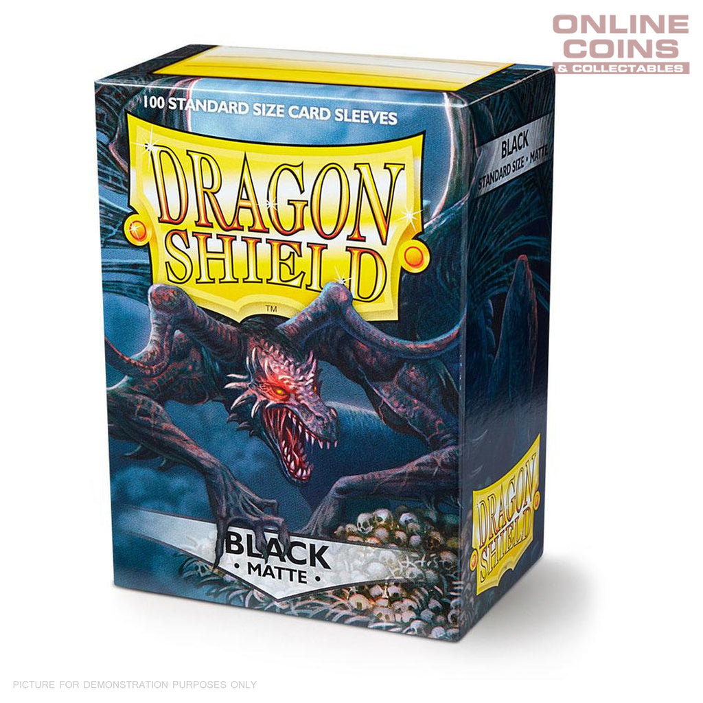 DRAGON SHIELD - MATTE Standard Card Sleeves BLACK Pack of 100 #AT-11002