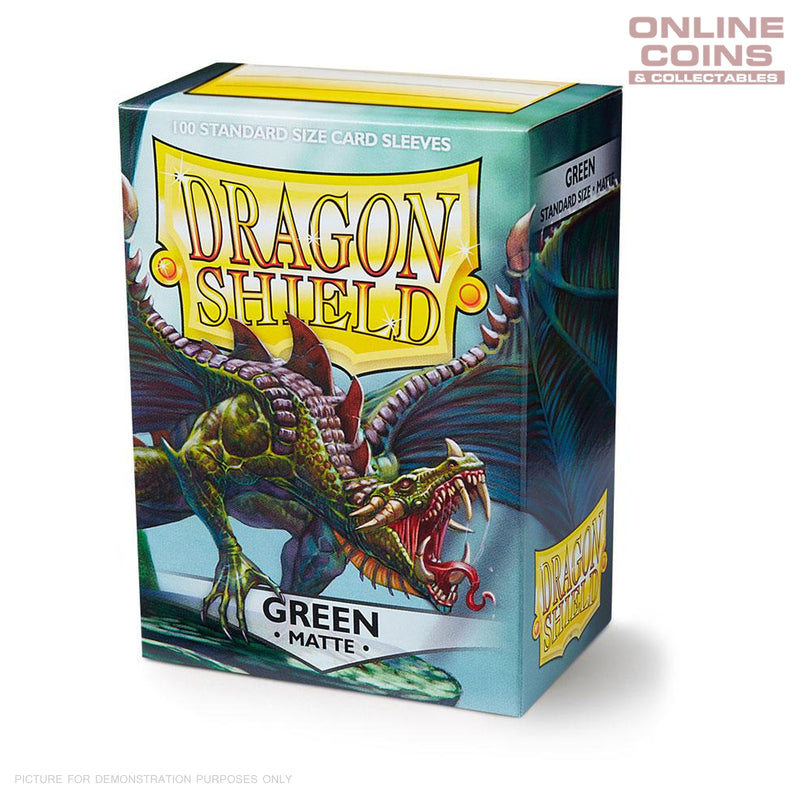 DRAGON SHIELD - MATTE Standard Card Sleeves GREEN Pack of 100 #AT-11004
