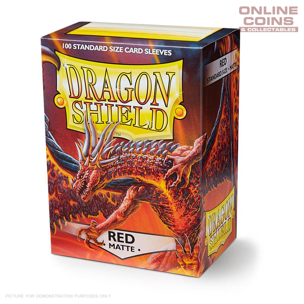 DRAGON SHIELD - MATTE Standard Card Sleeves RED Pack of 100 #AT-11007