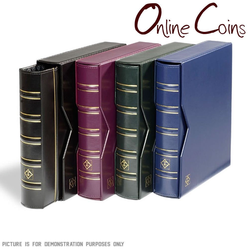 Lighthouse Classic Optima Coin Album With Slipcase & 10 Mixed Coin Pages - Red
