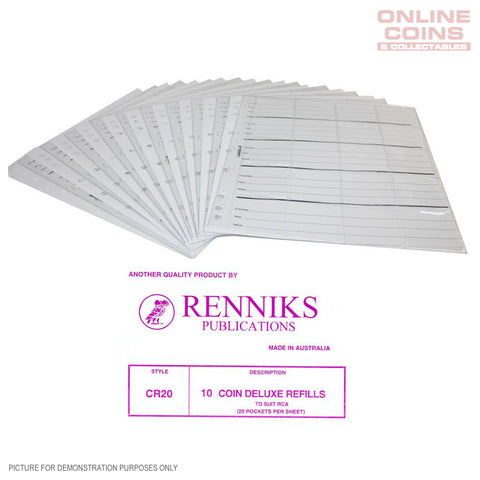 RENNIKS CR20 Coin Album Pages Packet of 10 - Suit Renniks Album and 2x2 Holders