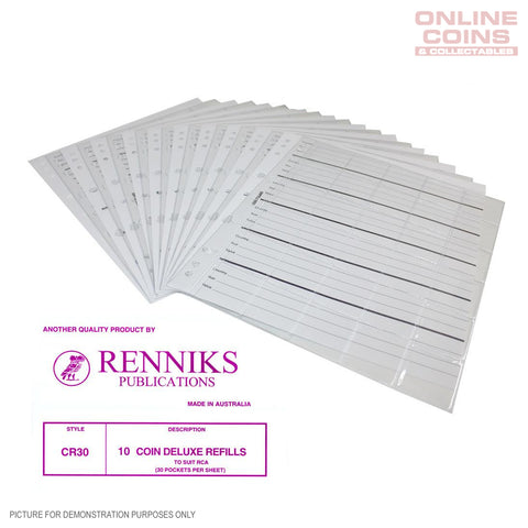 RENNIKS CR30 Coin Album Pages Packet of 10 - Suit Renniks Album or Similar
