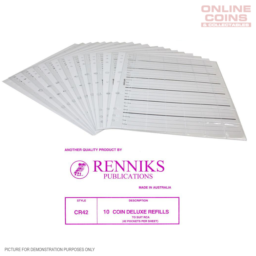 RENNIKS CR42 Coin Album Pages Packet of 10 - Suit Renniks Album or Similar