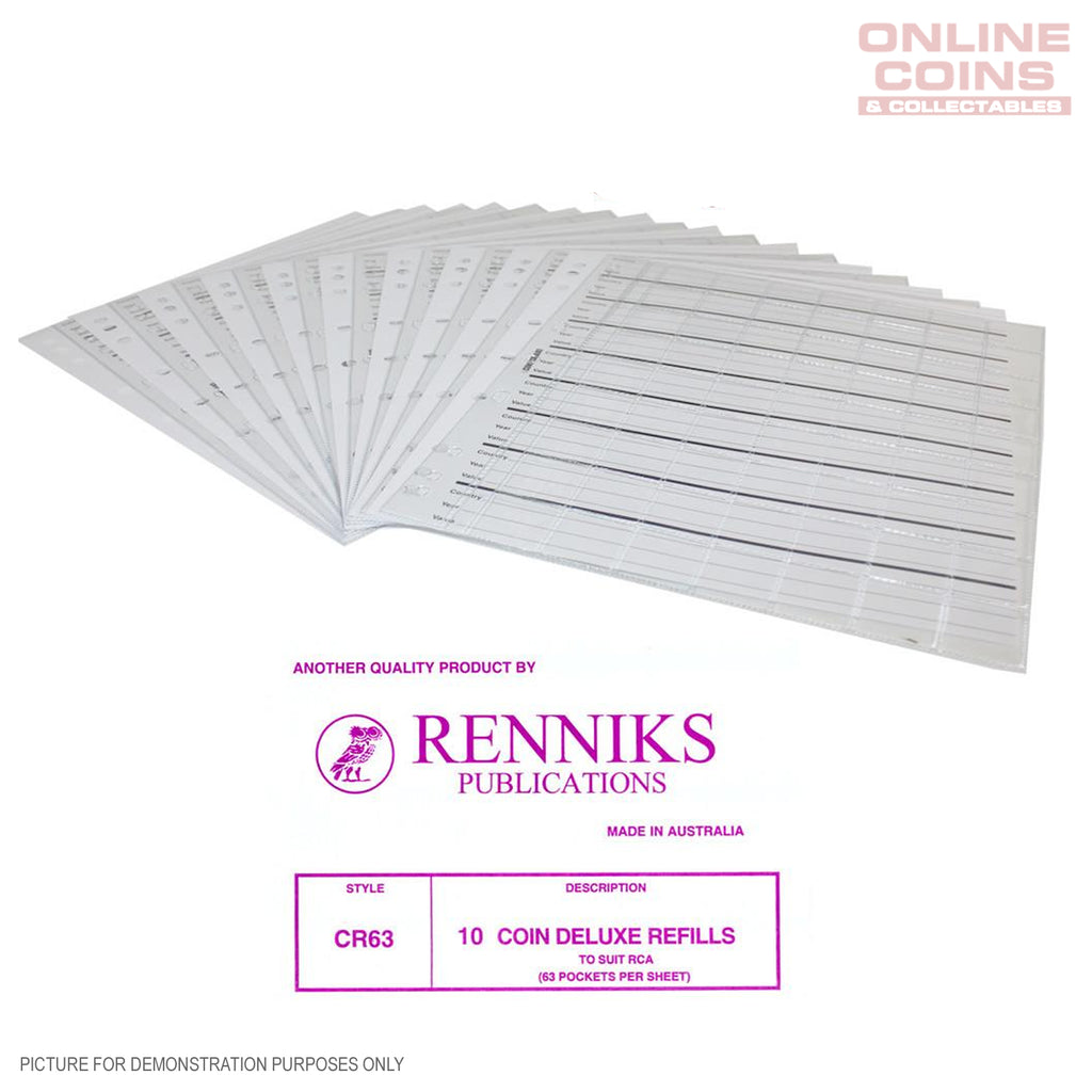 RENNIKS CR63 Coin Album Pages Listing is For Packet of 10 - Suit Renniks Coin Album