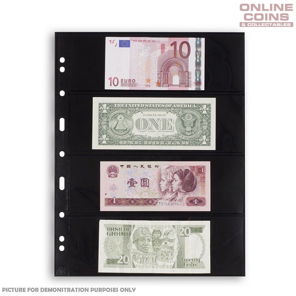 Lighthouse - Grande 4S Black Album Pages For Banknotes and Stamps - Packet of 5