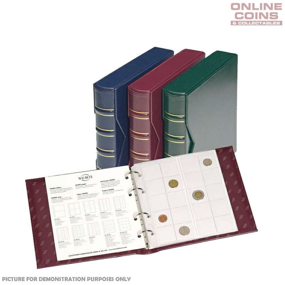 Lighthouse - Classic Numis Coin and Banknote Album With Slipcase Including 5 Assorted Pages - Red