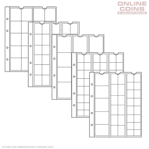 Lighthouse - Numis Assorted Clear Coin Album Pages - Packet of 5