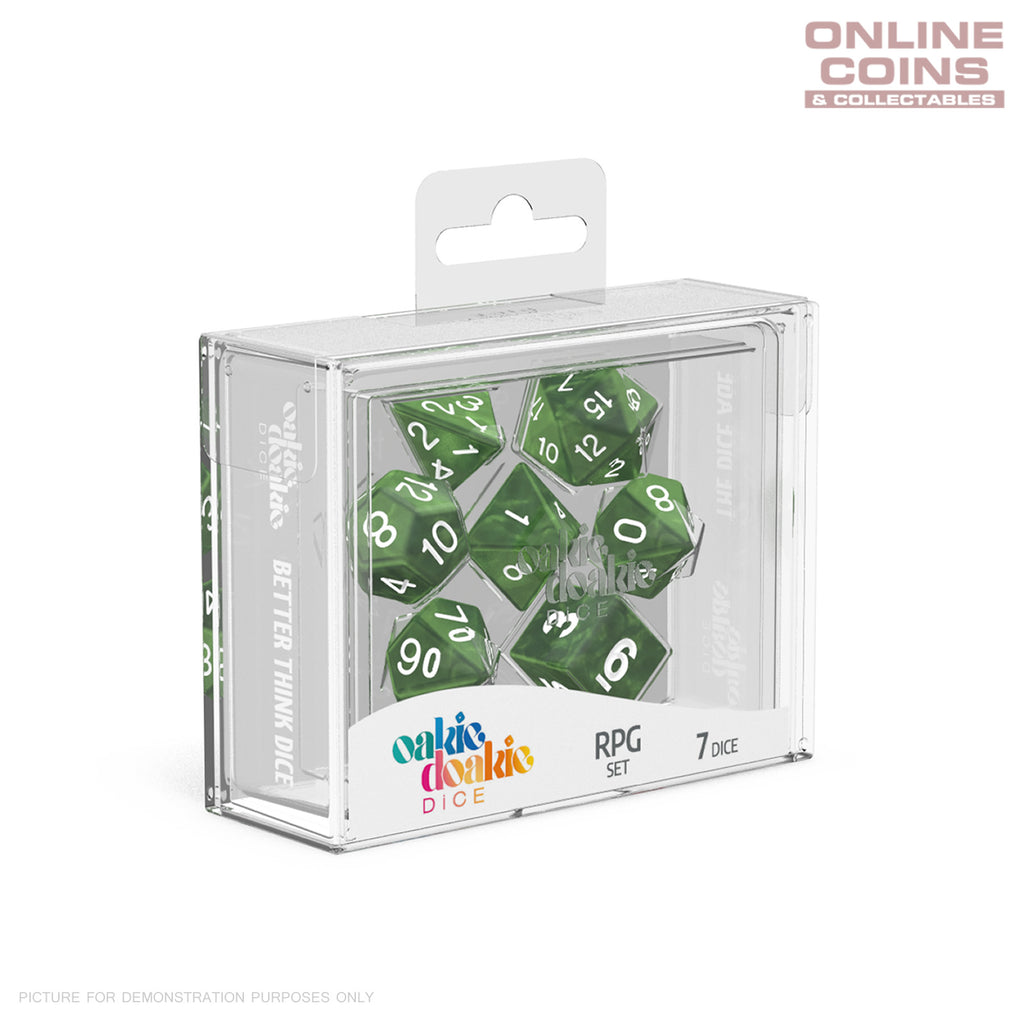 OAKIE DOAKIE DICE - RPG Set Marble Green (7)