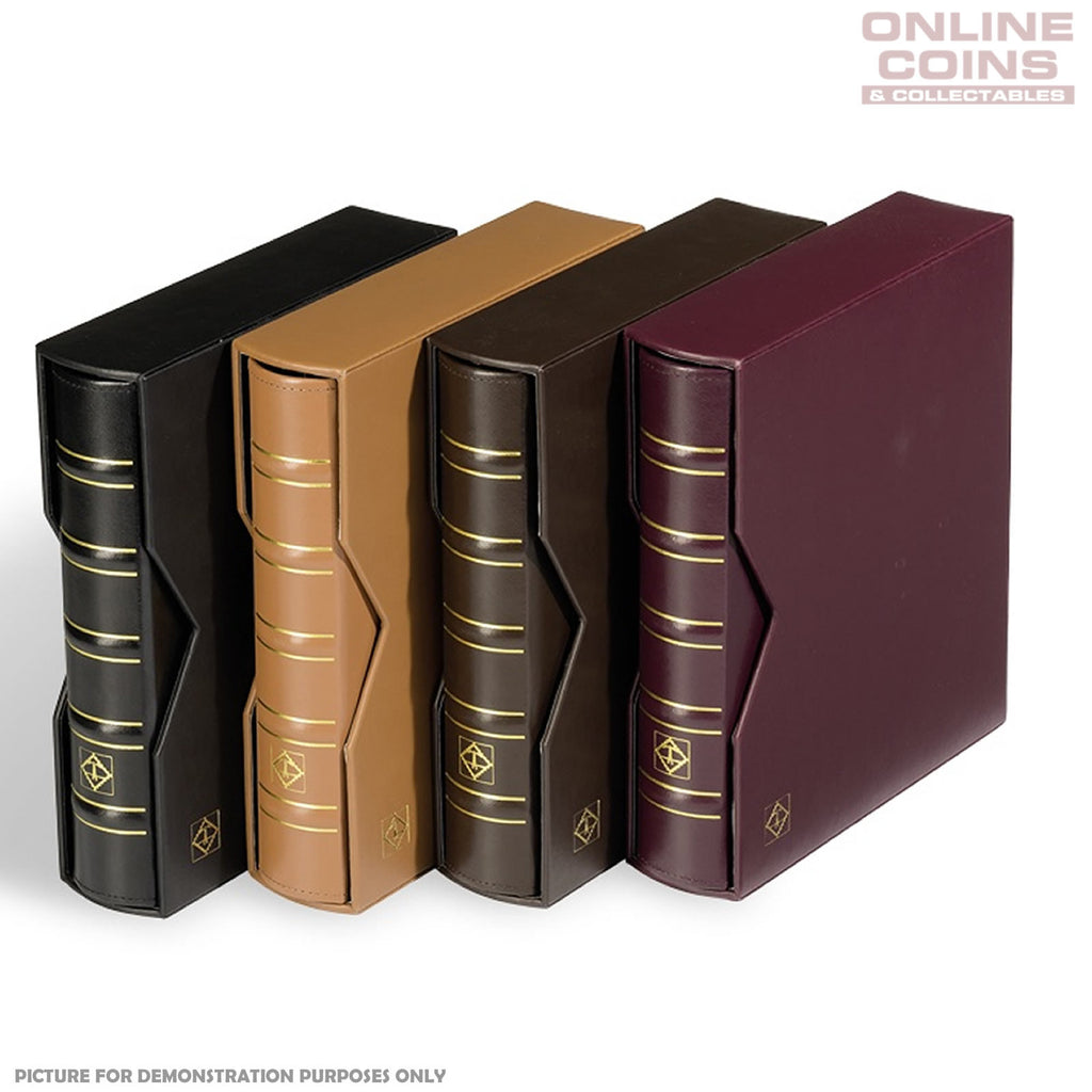 Lighthouse - Classic Optima Leather Coin, Stamp & Banknote Album With Slipcase - Dark Brown
