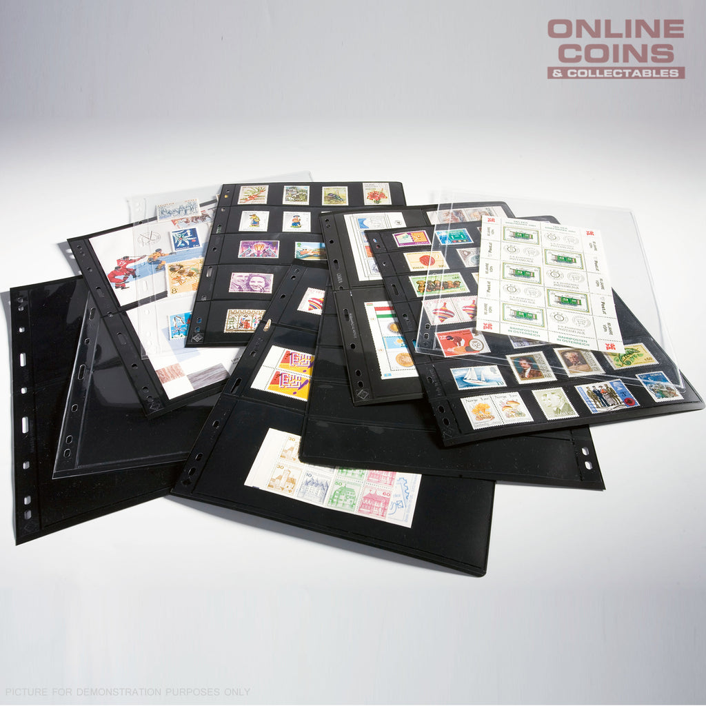 Lighthouse Vario 4 Pocket Black Banknote / Stamp Album Pages Pack of 5