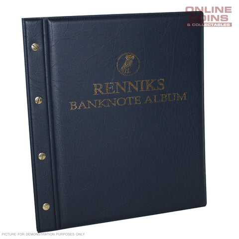 RENNIKS Banknote Album including 6 x 3 Pocket Note Album Pages - Blue NEW STYLE