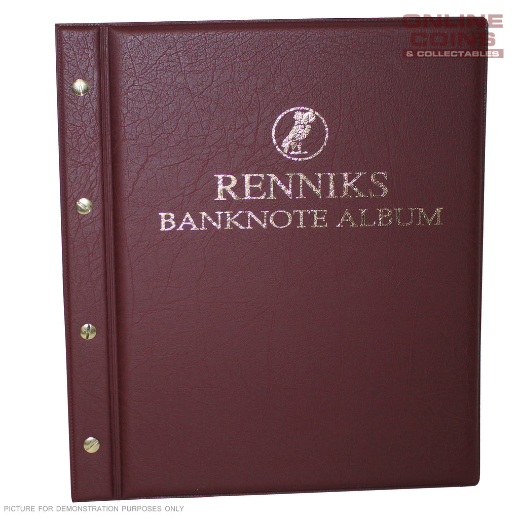 RENNIKS Banknote Album including 6 Note Album Pages - RED