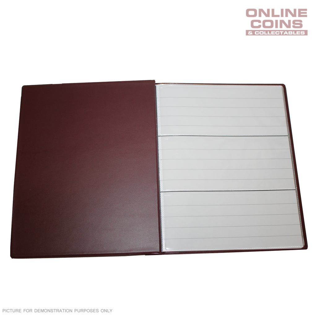 RENNIKS Banknote Album including 6 x 3 Pocket Note Album Pages - Red NEW STYLE